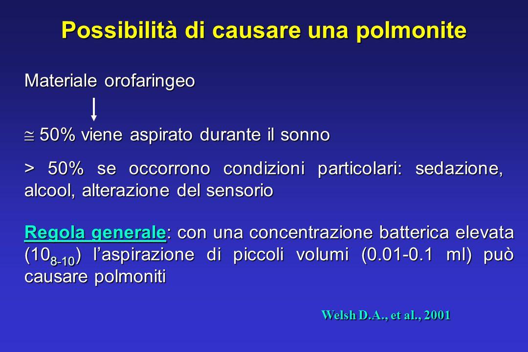 Possibilità di causare una polmonite Materiale orofaringeo  50% viene aspirato durante il sonno > 50% se occorrono condizioni particolari: sedazione, alcool, alterazione del sensorio Regola generale: con una concentrazione batterica elevata (10 8-10 ) l'aspirazione di piccoli volumi (0.01-0.1 ml) può causare polmoniti Welsh D.A., et al., 2001