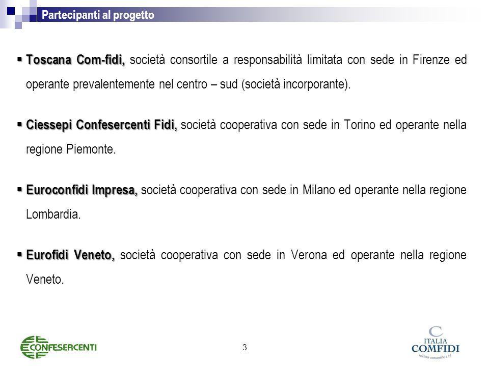Partecipanti al progetto  Toscana Com-fidi,  Toscana Com-fidi, società consortile a responsabilità limitata con sede in Firenze ed operante prevalentemente nel centro – sud (società incorporante).