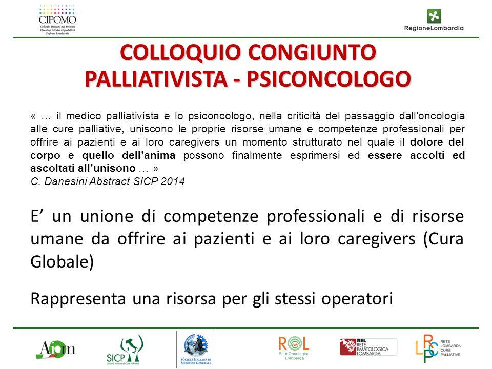 « … il medico palliativista e lo psiconcologo, nella criticità del passaggio dall'oncologia alle cure palliative, uniscono le proprie risorse umane e
