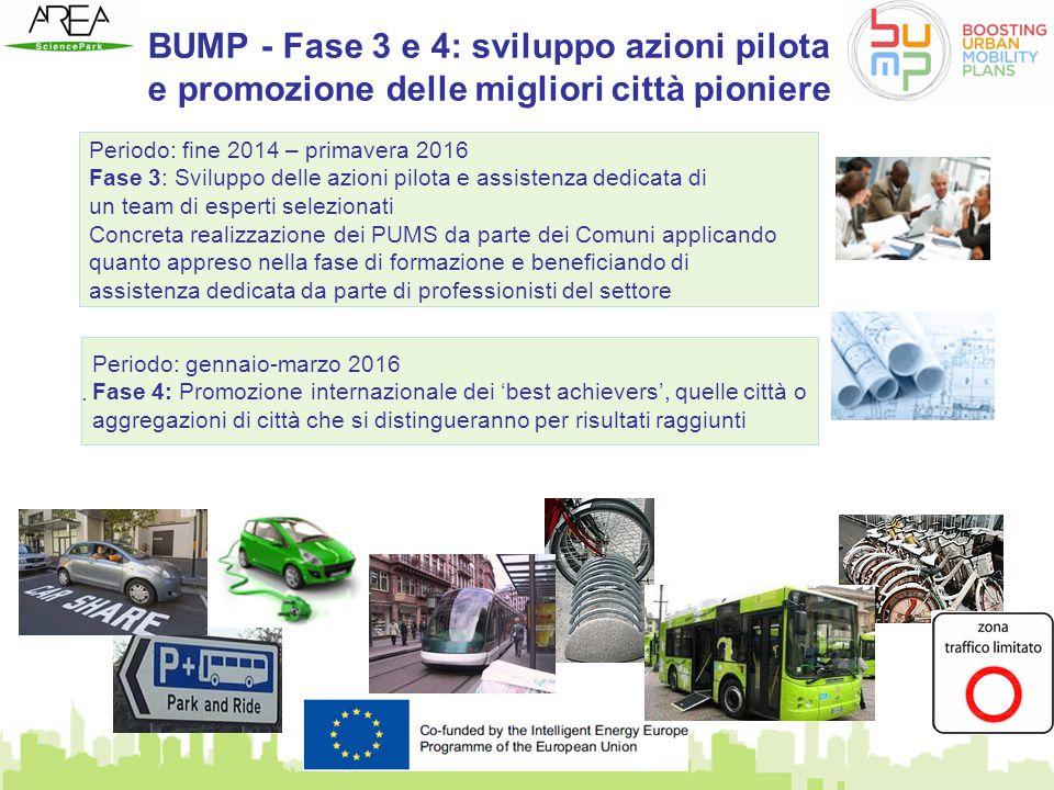 BUMP - Fase 3 e 4: sviluppo azioni pilota e promozione delle migliori città pioniere. Periodo: fine 2014 – primavera 2016 Fase 3: Sviluppo delle azion