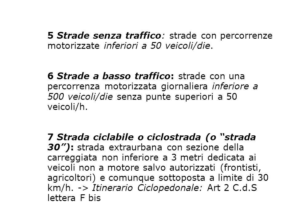 5 Strade senza traffico: strade con percorrenze motorizzate inferiori a 50 veicoli/die.