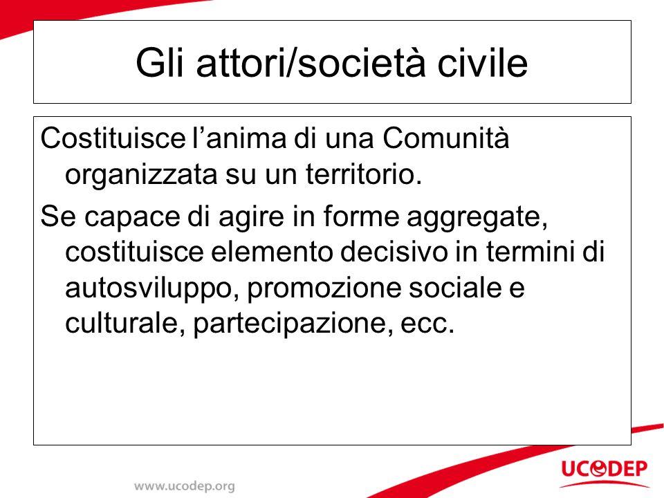 Gli attori/società civile Costituisce l'anima di una Comunità organizzata su un territorio.