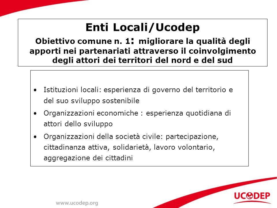 Enti Locali/Ucodep Obiettivo comune n.