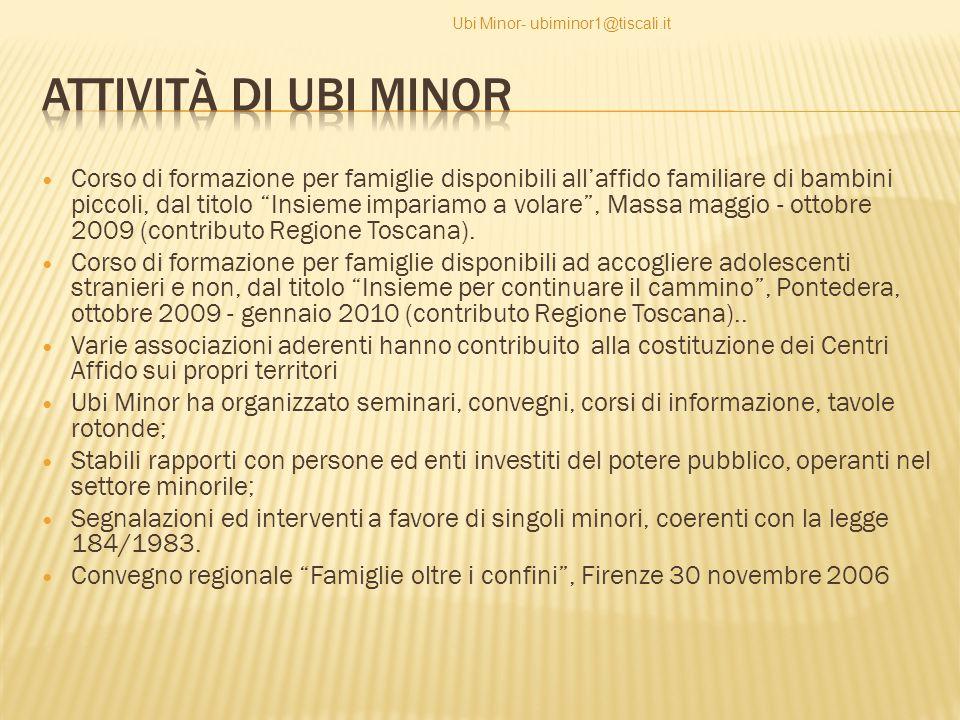 Corso di formazione per famiglie disponibili all'affido familiare di bambini piccoli, dal titolo Insieme impariamo a volare , Massa maggio - ottobre 2009 (contributo Regione Toscana).
