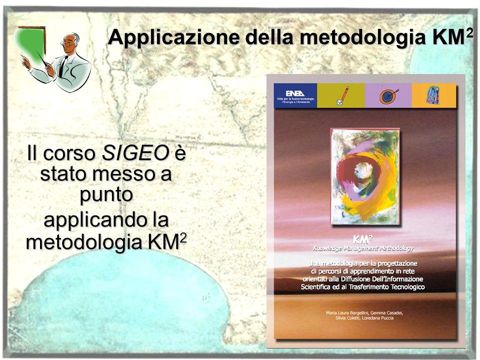 Applicazione della metodologia KM 2 Il corso SIGEO è stato messo a punto applicando la metodologia KM 2