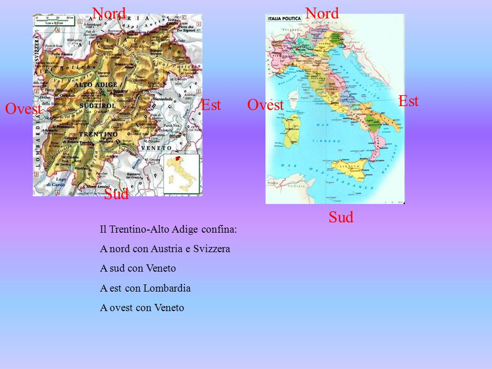 Il Trentino-Alto Adige confina: A nord con Austria e Svizzera A sud con Veneto A est con Lombardia A ovest con Veneto Nord Est Ovest Sud Est Nord Ovest