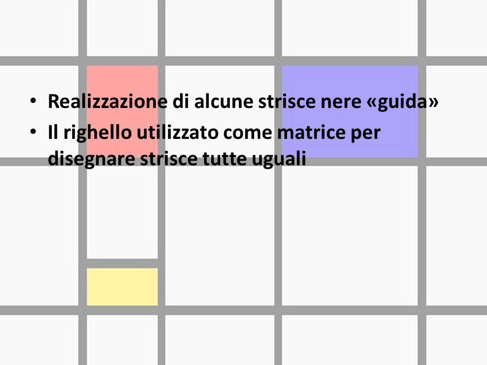 Realizzazione di alcune strisce nere «guida» Il righello utilizzato come matrice per disegnare strisce tutte uguali