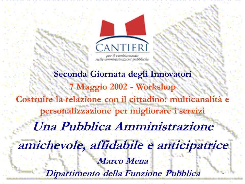 1 Seconda Giornata degli Innovatori 7 Maggio 2002 - Workshop Costruire la relazione con il cittadino: multicanalità e personalizzazione per migliorare i servizi Una Pubblica Amministrazione amichevole, affidabile e anticipatrice Marco Mena Dipartimento della Funzione Pubblica