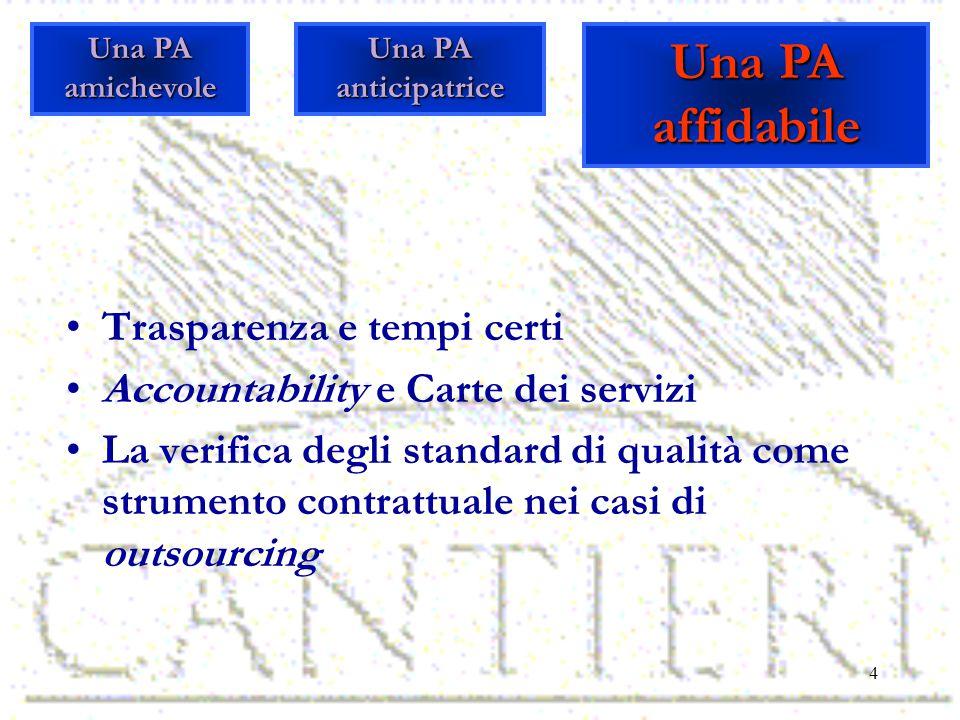 4 Trasparenza e tempi certi Accountability e Carte dei servizi La verifica degli standard di qualità come strumento contrattuale nei casi di outsourcing Una PA amichevole Una PA affidabile Una PA anticipatrice