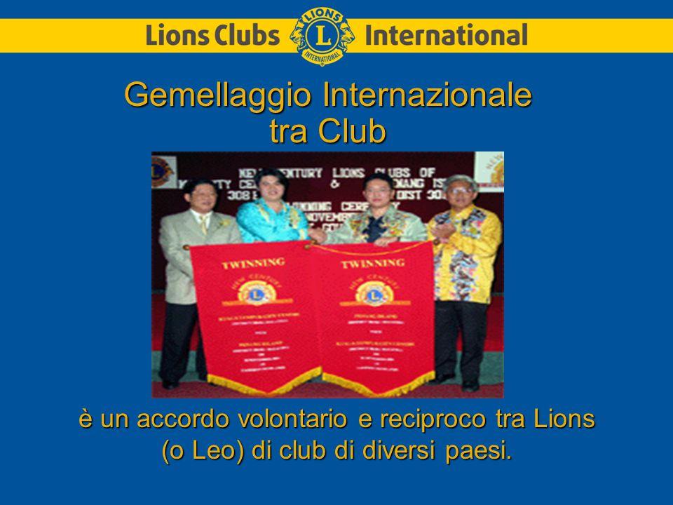 è un accordo volontario e reciproco tra Lions (o Leo) di club di diversi paesi.