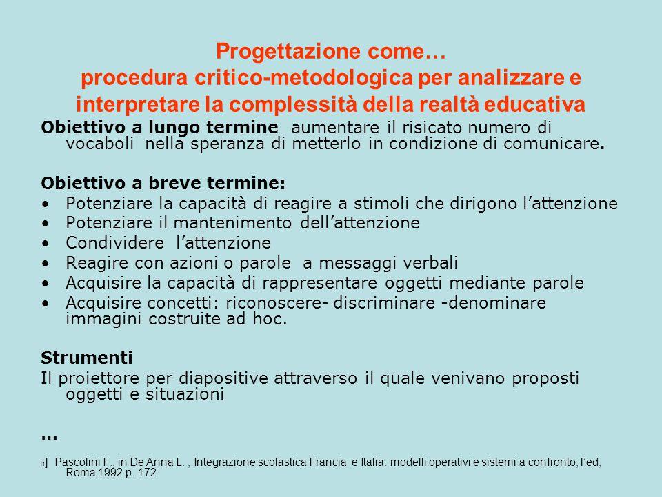 Progettazione come… procedura critico-metodologica per analizzare e interpretare la complessità della realtà educativa Obiettivo a lungo termine aumen