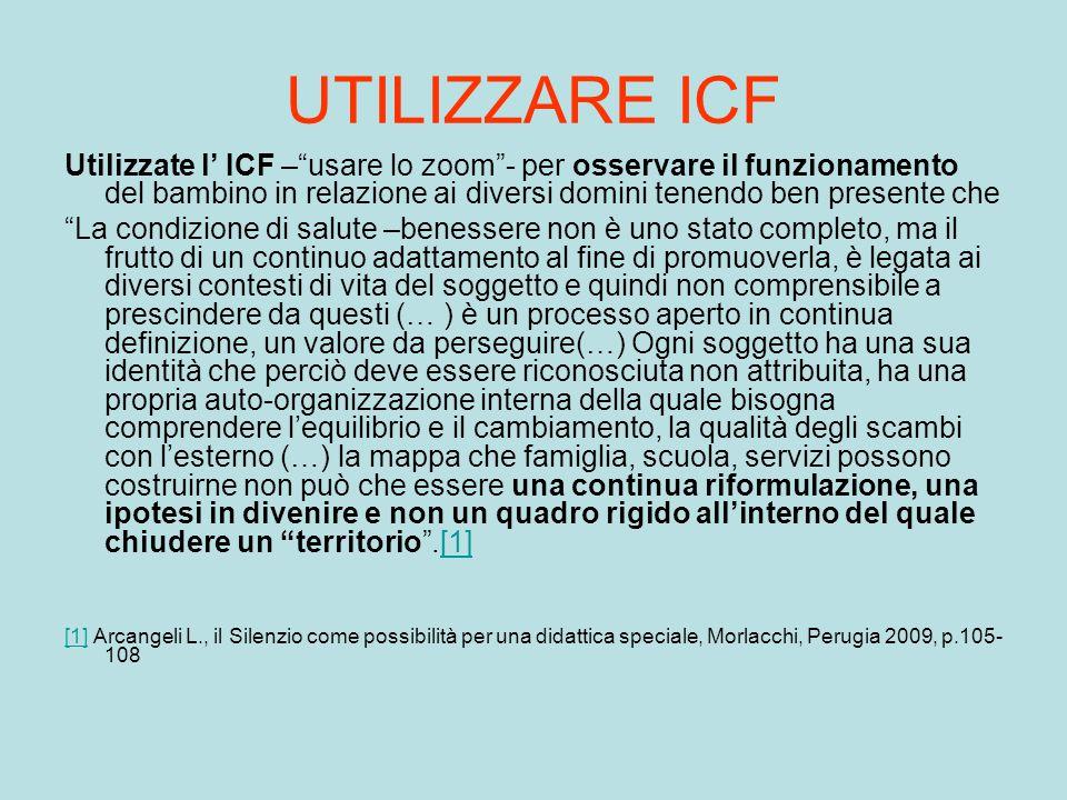 """UTILIZZARE ICF Utilizzate l' ICF –""""usare lo zoom""""- per osservare il funzionamento del bambino in relazione ai diversi domini tenendo ben presente che"""