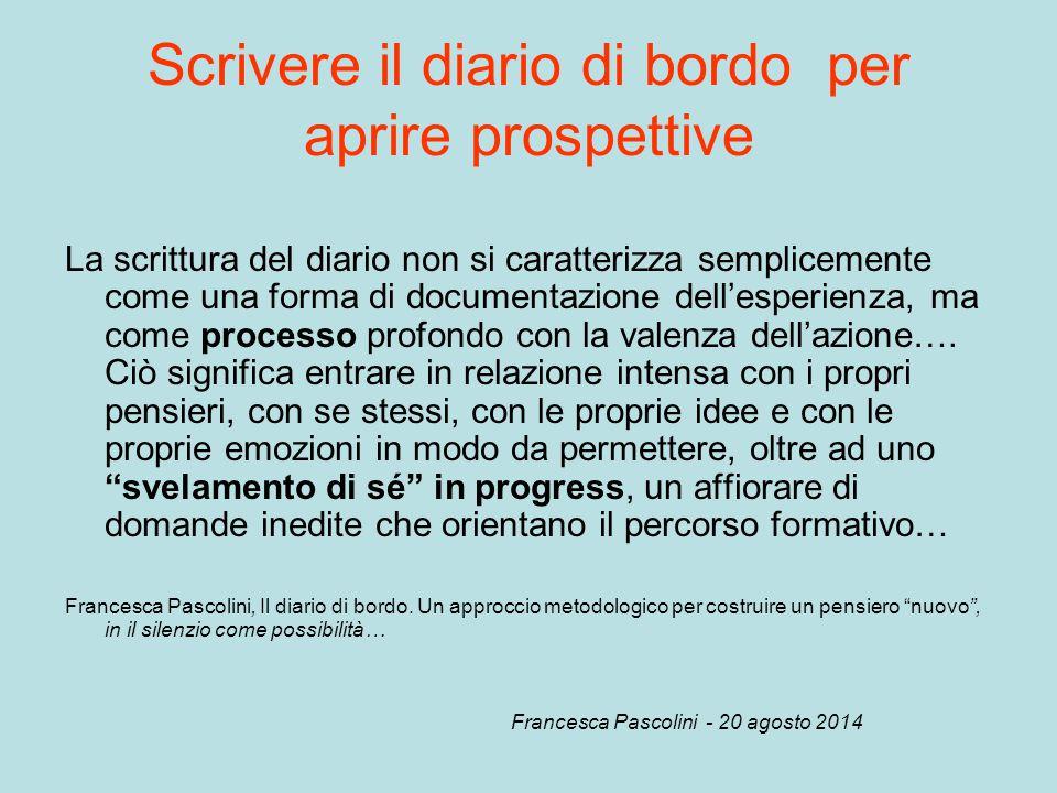 domande (nel diario di bordo) Le domande (nel diario di bordo) aiutano a riflettere obiettivi sulla scelta degli obiettivi e delle strategie Francesca Pascolini - 20 agosto 2014