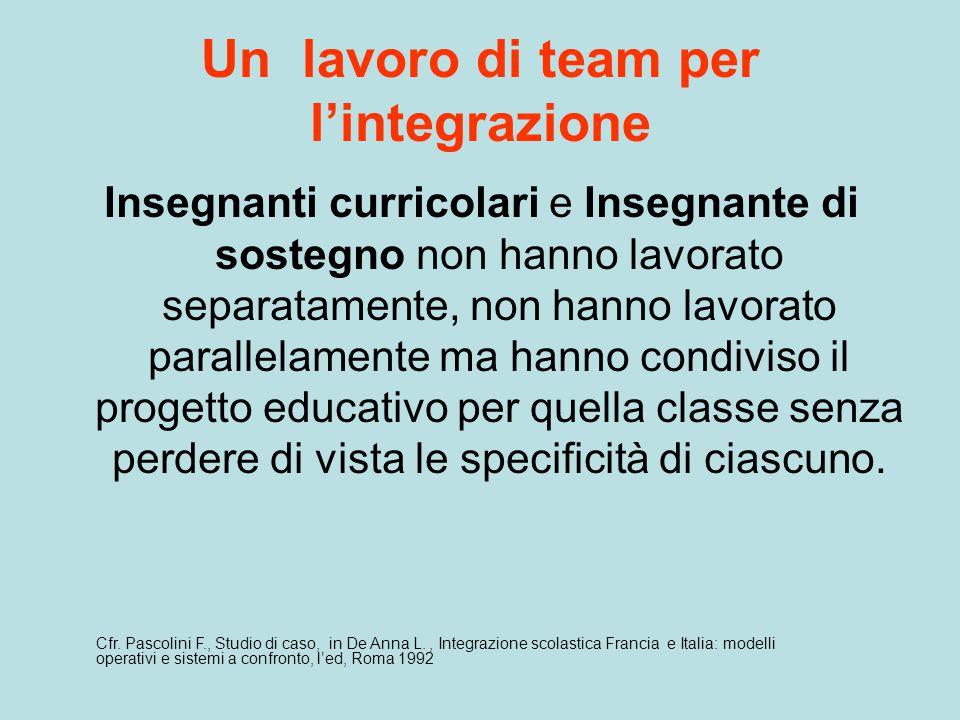 Un lavoro di team per l'integrazione Insegnanti curricolari e Insegnante di sostegno non hanno lavorato separatamente, non hanno lavorato parallelamen