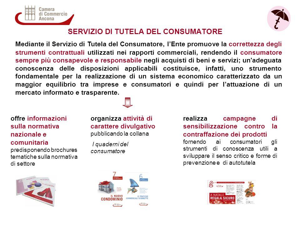 Mediante il Servizio di Tutela del Consumatore, l'Ente promuove la correttezza degli strumenti contrattuali utilizzati nei rapporti commerciali, rende