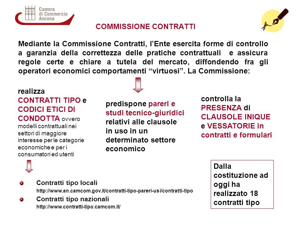 COMMISSIONE CONTRATTI realizza CONTRATTI TIPO e CODICI ETICI DI CONDOTTA ovvero modelli contrattuali nei settori di maggiore interesse per le categori
