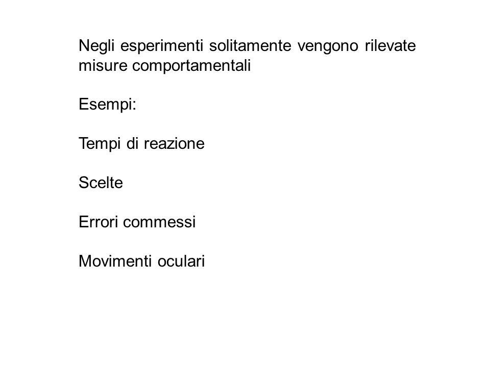 Negli esperimenti solitamente vengono rilevate misure comportamentali Esempi: Tempi di reazione Scelte Errori commessi Movimenti oculari
