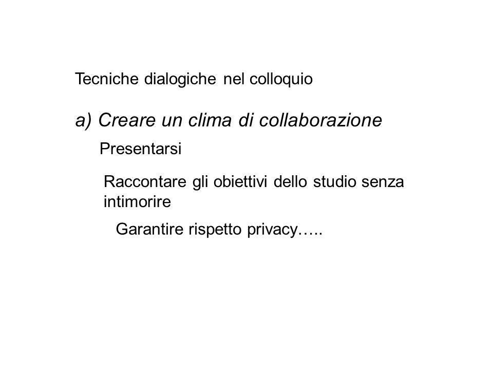 Tecniche dialogiche nel colloquio a) Creare un clima di collaborazione Presentarsi Raccontare gli obiettivi dello studio senza intimorire Garantire rispetto privacy…..