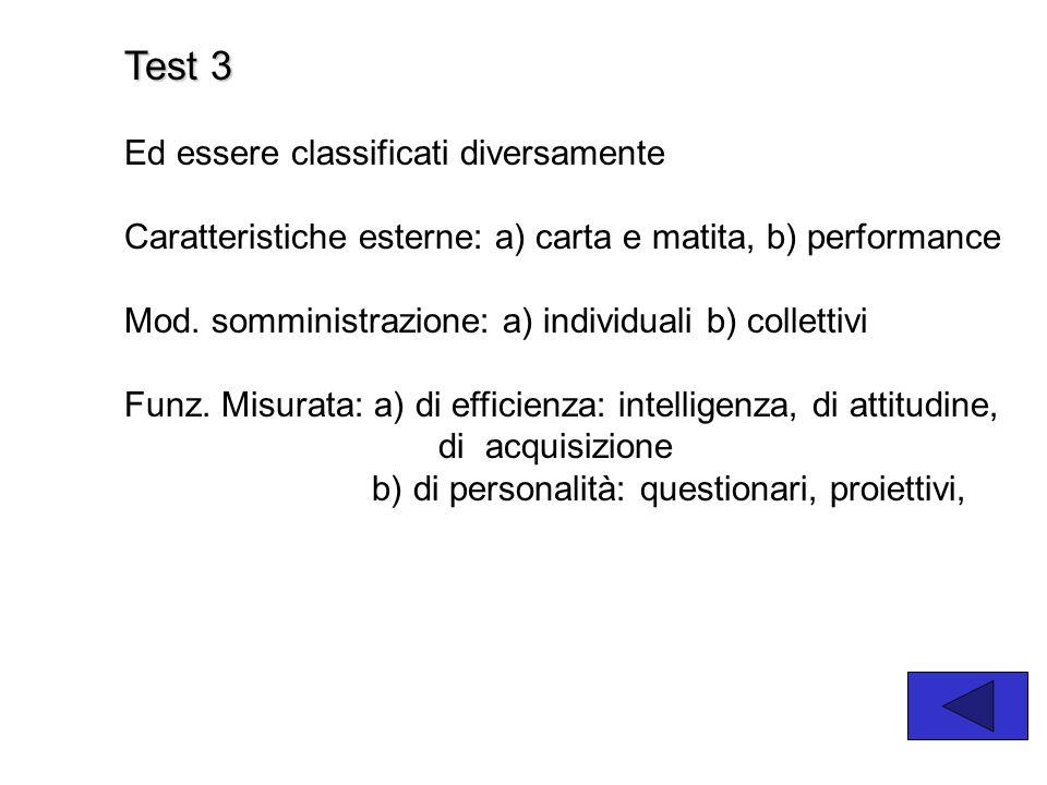 Test 3 Ed essere classificati diversamente Caratteristiche esterne: a) carta e matita, b) performance Mod.