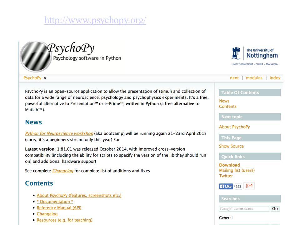 Indici della tendenza centrale http://www.psychopy.org/