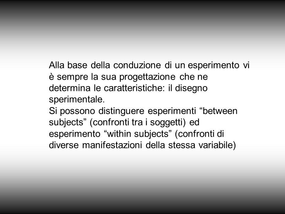 Alla base della conduzione di un esperimento vi è sempre la sua progettazione che ne determina le caratteristiche: il disegno sperimentale.
