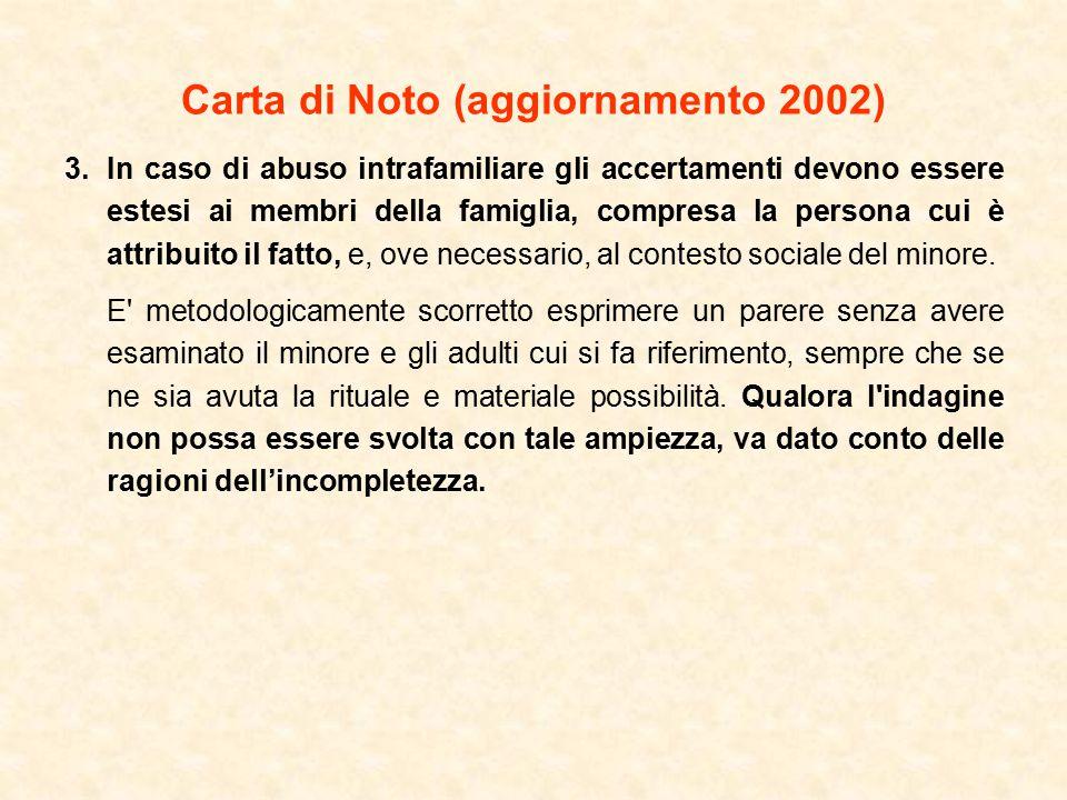 Carta di Noto (aggiornamento 2002) 3.In caso di abuso intrafamiliare gli accertamenti devono essere estesi ai membri della famiglia, compresa la persona cui è attribuito il fatto, e, ove necessario, al contesto sociale del minore.