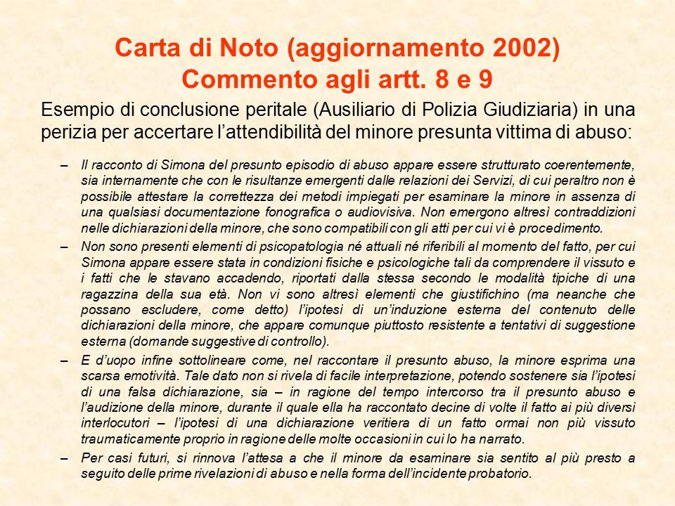 Carta di Noto (aggiornamento 2002) Commento agli artt.