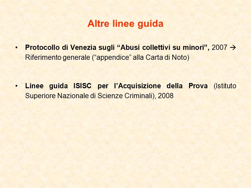 Altre linee guida Protocollo di Venezia sugli Abusi collettivi su minori , 2007  Riferimento generale ( appendice alla Carta di Noto) Linee guida ISISC per l'Acquisizione della Prova (Istituto Superiore Nazionale di Scienze Criminali), 2008