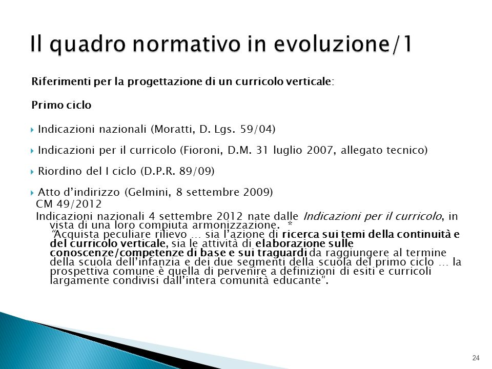 Riferimenti per la progettazione di un curricolo verticale: Primo ciclo  Indicazioni nazionali (Moratti, D. Lgs. 59/04)  Indicazioni per il curricol