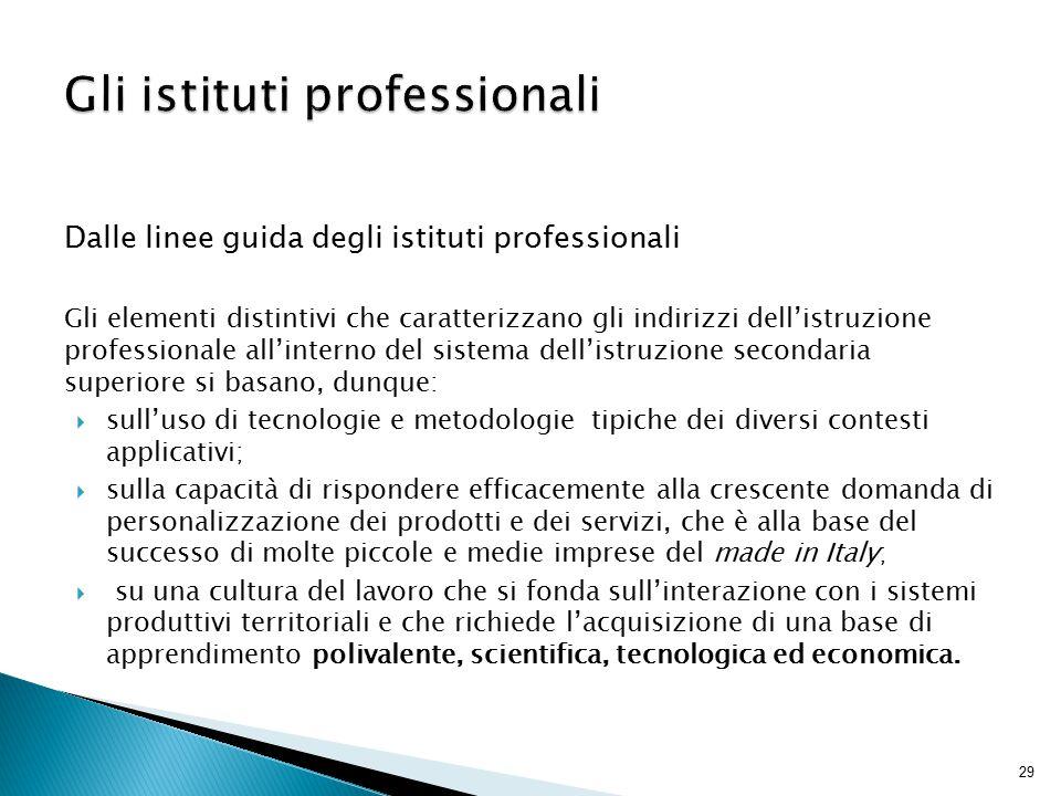 29 Gli istituti professionali Dalle linee guida degli istituti professionali Gli elementi distintivi che caratterizzano gli indirizzi dell'istruzione