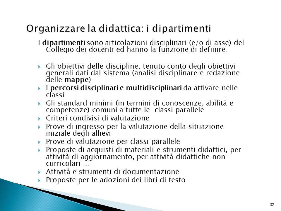 32 I dipartimenti sono articolazioni disciplinari (e/o di asse) del Collegio dei docenti ed hanno la funzione di definire:  Gli obiettivi delle disci