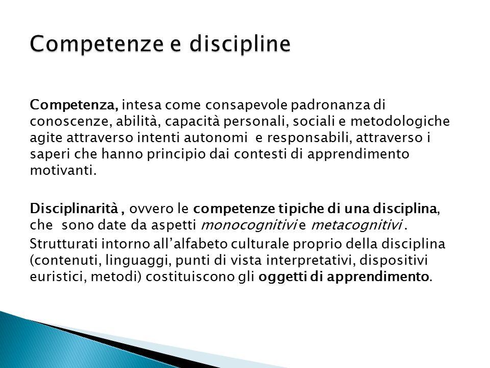 Competenza, intesa come consapevole padronanza di conoscenze, abilità, capacità personali, sociali e metodologiche agite attraverso intenti autonomi e