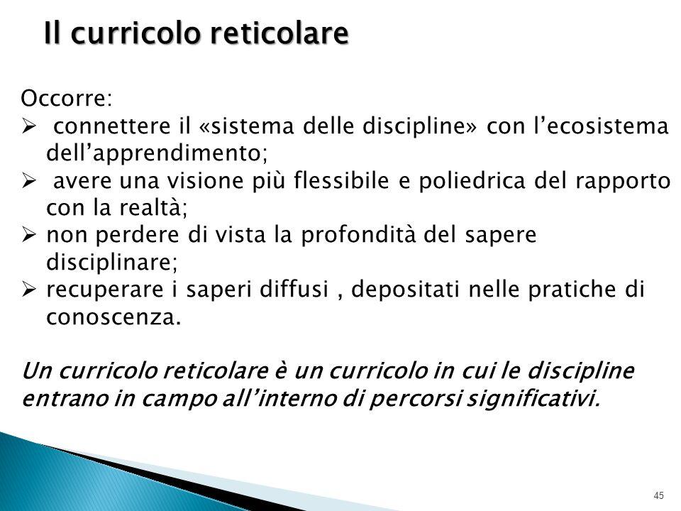 45 Il curricolo reticolare Occorre:  connettere il «sistema delle discipline» con l'ecosistema dell'apprendimento;  avere una visione più flessibile