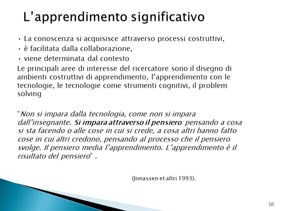 La conoscenza si acquisisce attraverso processi costruttivi, è facilitata dalla collaborazione, viene determinata dal contesto Le principali aree di i