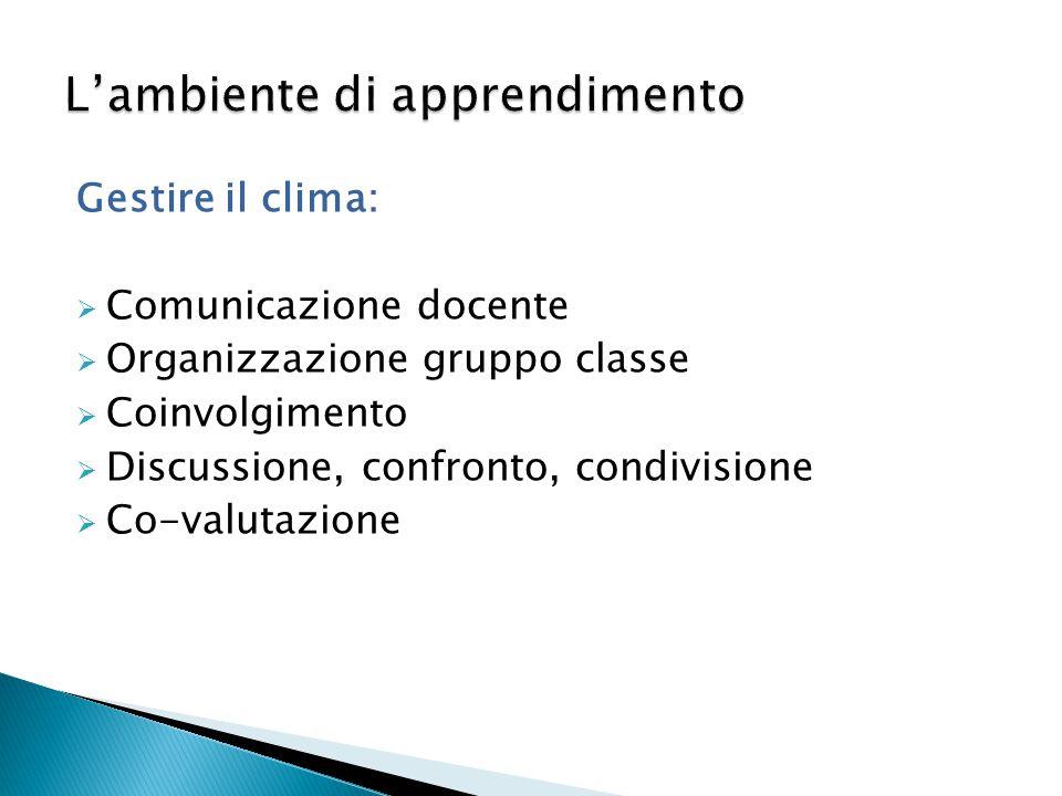 Gestire il clima:  Comunicazione docente  Organizzazione gruppo classe  Coinvolgimento  Discussione, confronto, condivisione  Co-valutazione