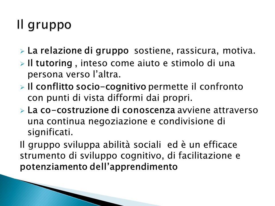  La relazione di gruppo sostiene, rassicura, motiva.  Il tutoring, inteso come aiuto e stimolo di una persona verso l'altra.  Il conflitto socio-co