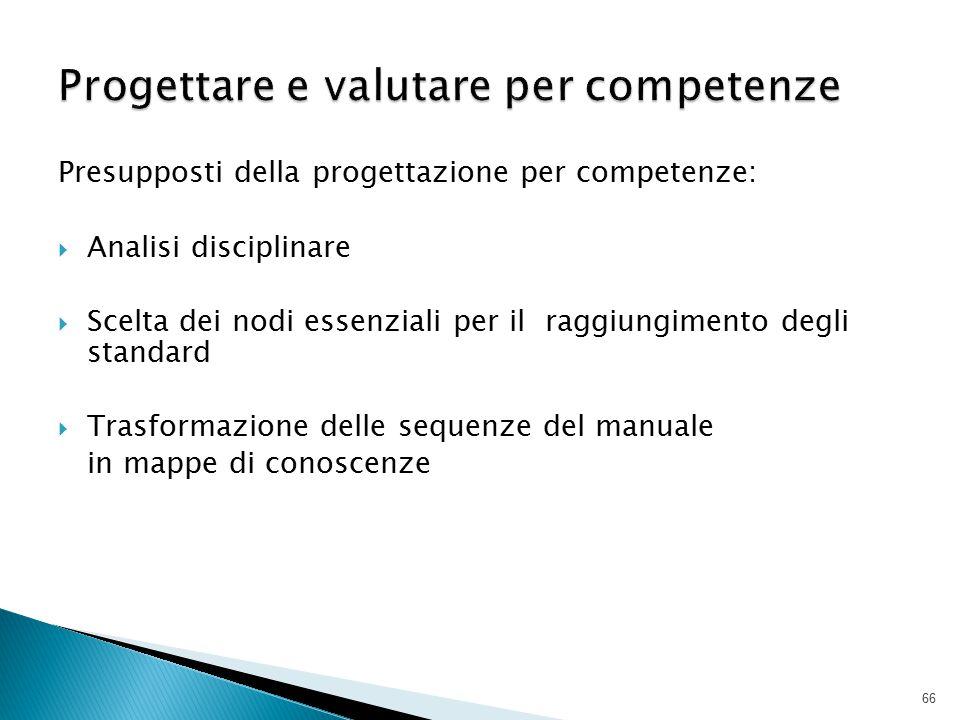 Presupposti della progettazione per competenze:  Analisi disciplinare  Scelta dei nodi essenziali per il raggiungimento degli standard  Trasformazi