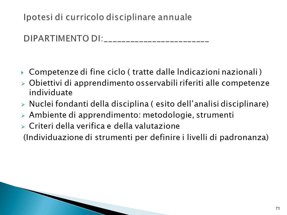 71  Competenze di fine ciclo ( tratte dalle lndicazioni nazionali )  Obiettivi di apprendimento osservabili riferiti alle competenze individuate  N
