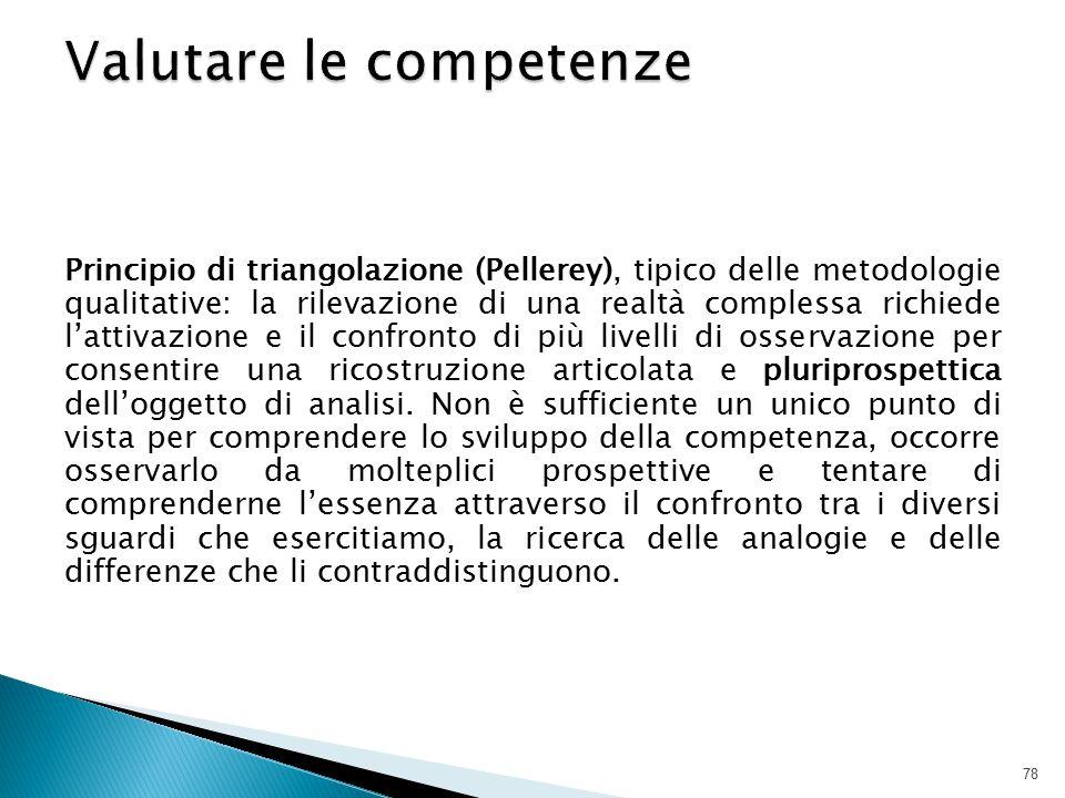 Principio di triangolazione (Pellerey), tipico delle metodologie qualitative: la rilevazione di una realtà complessa richiede l'attivazione e il confr