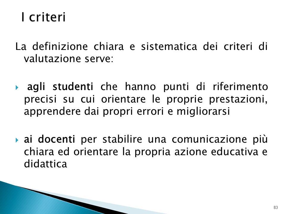 La definizione chiara e sistematica dei criteri di valutazione serve:  agli studenti che hanno punti di riferimento precisi su cui orientare le propr