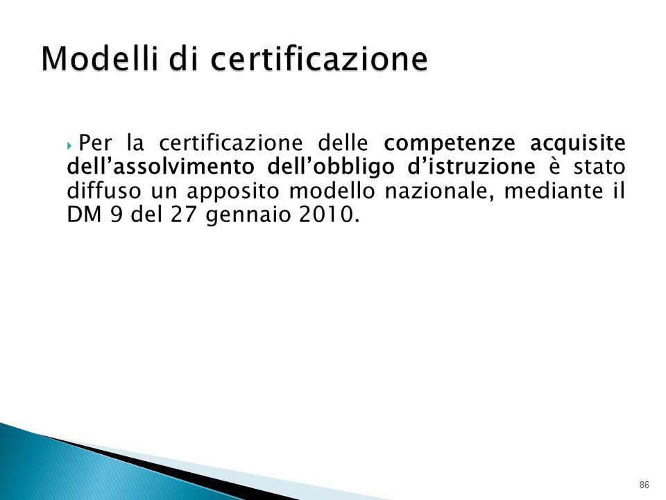  Per la certificazione delle competenze acquisite dell'assolvimento dell'obbligo d'istruzione è stato diffuso un apposito modello nazionale, mediante