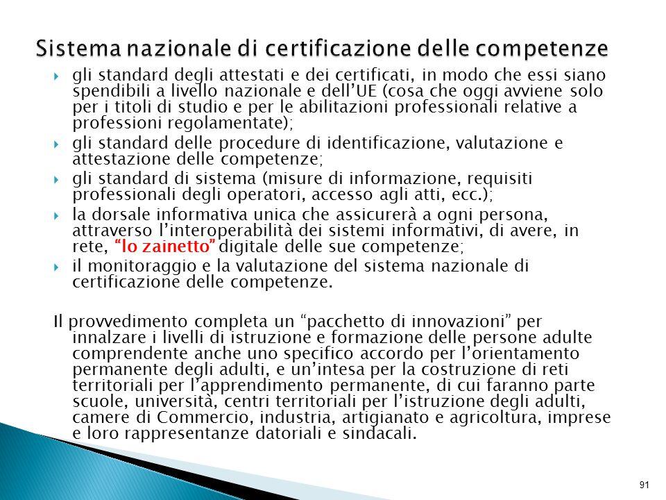 91  gli standard degli attestati e dei certificati, in modo che essi siano spendibili a livello nazionale e dell'UE (cosa che oggi avviene solo per i