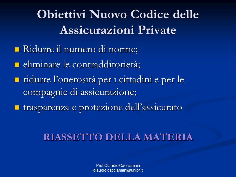 Prof.Claudio Cacciamani claudio.cacciamani@unipr.it Obiettivi Nuovo Codice delle Assicurazioni Private Ridurre il numero di norme; Ridurre il numero d