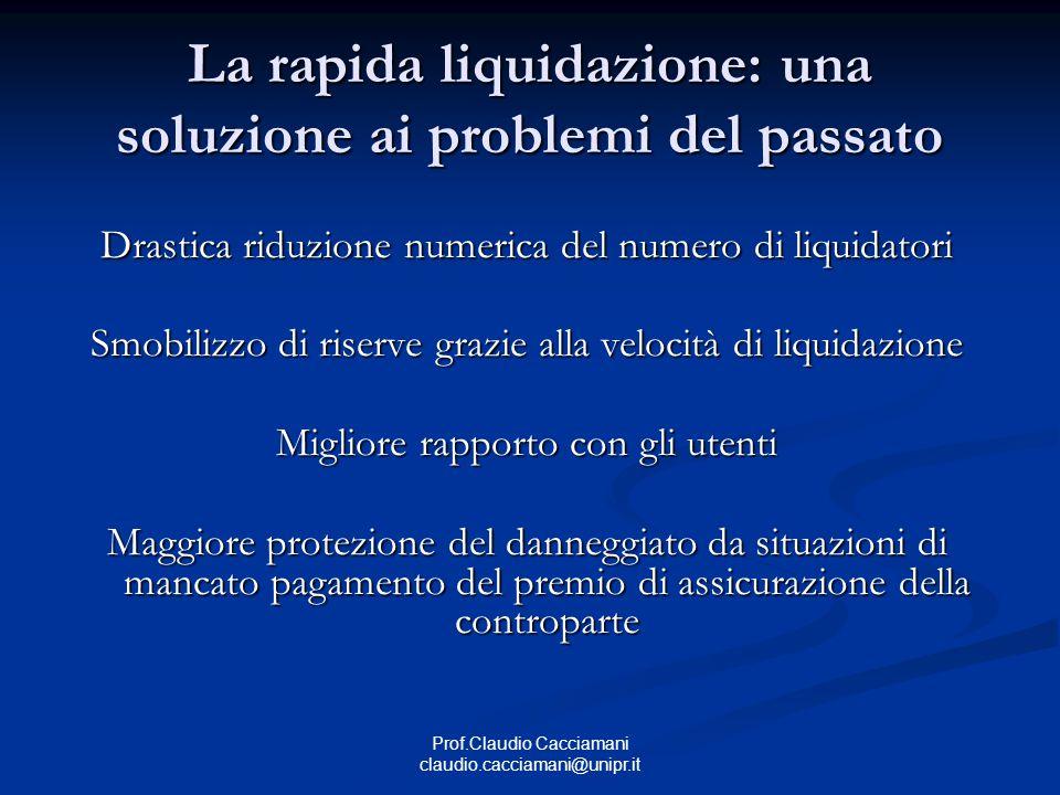 Prof.Claudio Cacciamani claudio.cacciamani@unipr.it La rapida liquidazione: una soluzione ai problemi del passato Drastica riduzione numerica del nume