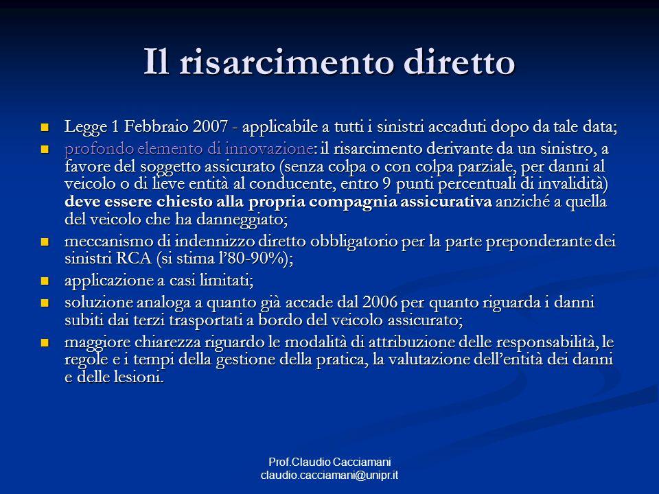 Prof.Claudio Cacciamani claudio.cacciamani@unipr.it Il risarcimento diretto Legge 1 Febbraio 2007 - applicabile a tutti i sinistri accaduti dopo da ta