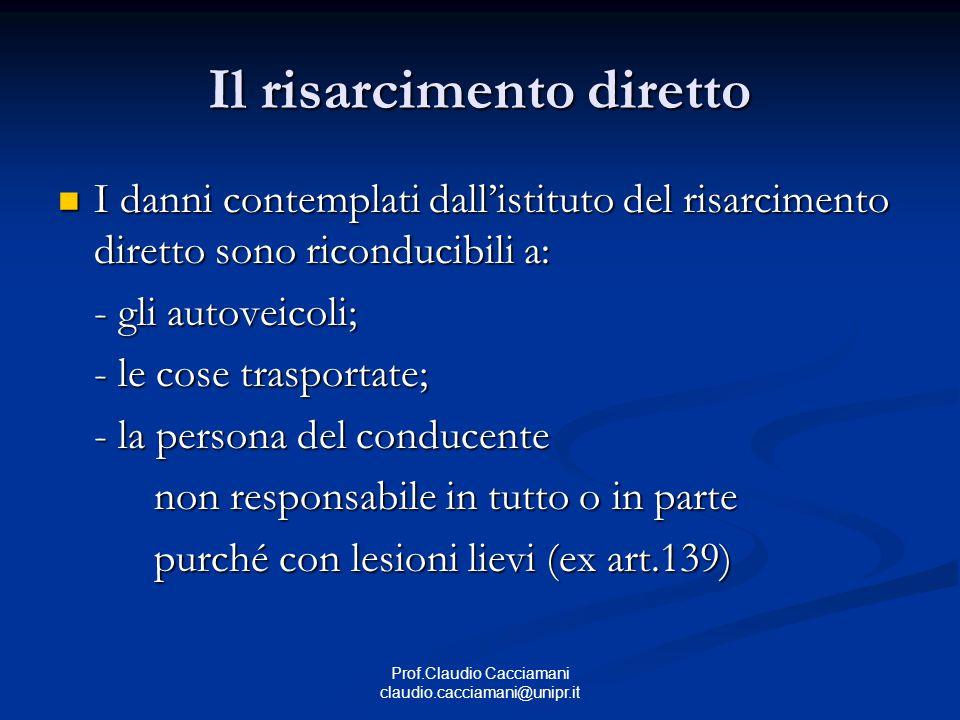 Prof.Claudio Cacciamani claudio.cacciamani@unipr.it Il risarcimento diretto I danni contemplati dall'istituto del risarcimento diretto sono riconducib