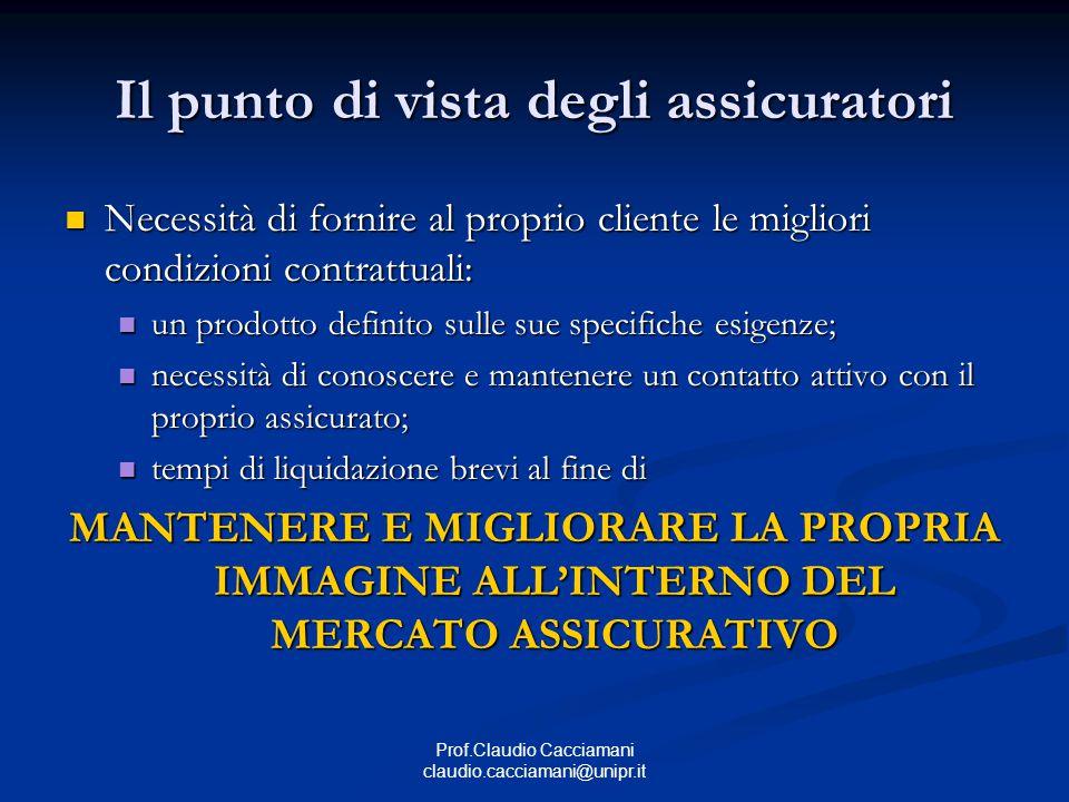 Prof.Claudio Cacciamani claudio.cacciamani@unipr.it Il punto di vista degli assicuratori Necessità di fornire al proprio cliente le migliori condizion