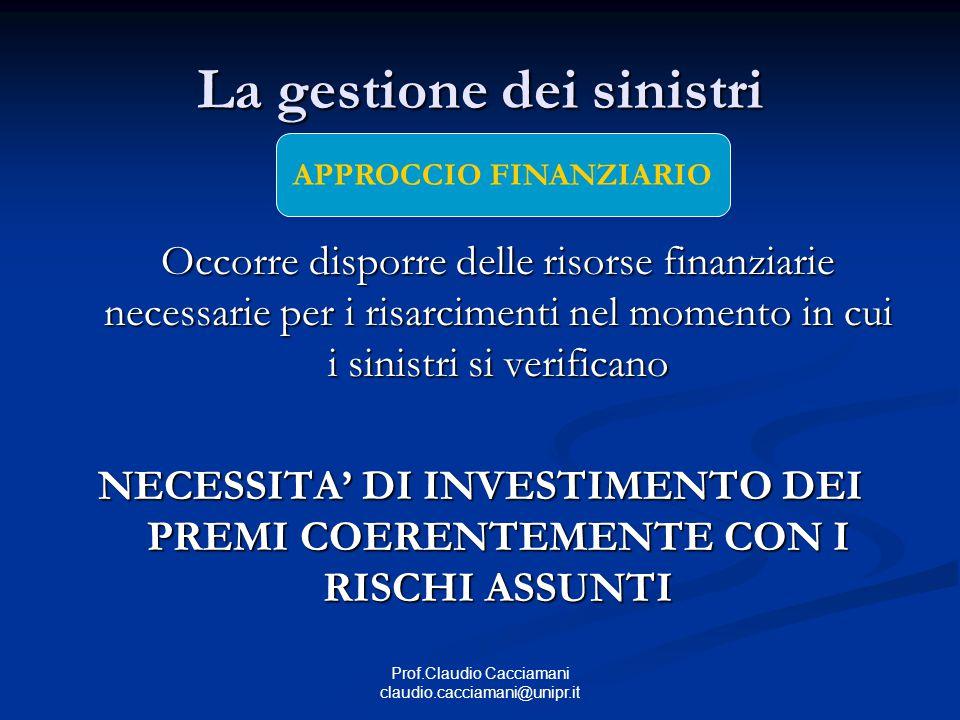 Prof.Claudio Cacciamani claudio.cacciamani@unipr.it La gestione dei sinistri Occorre disporre delle risorse finanziarie necessarie per i risarcimenti