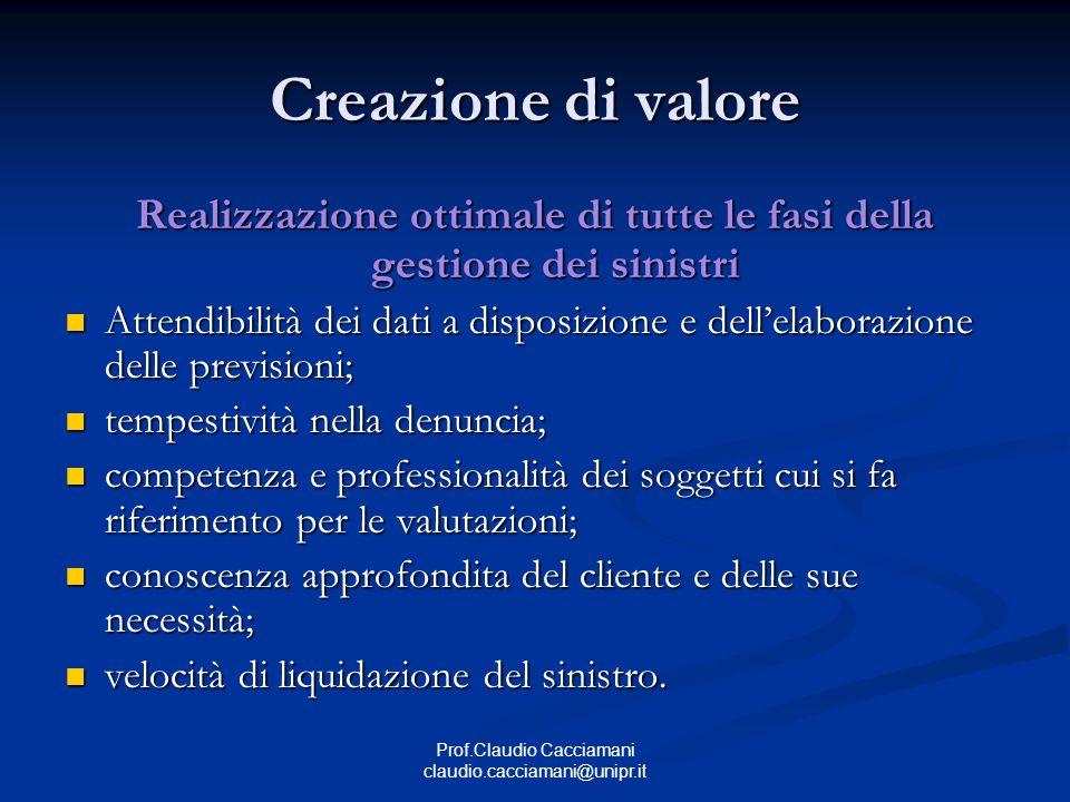 Prof.Claudio Cacciamani claudio.cacciamani@unipr.it Creazione di valore Realizzazione ottimale di tutte le fasi della gestione dei sinistri Attendibil