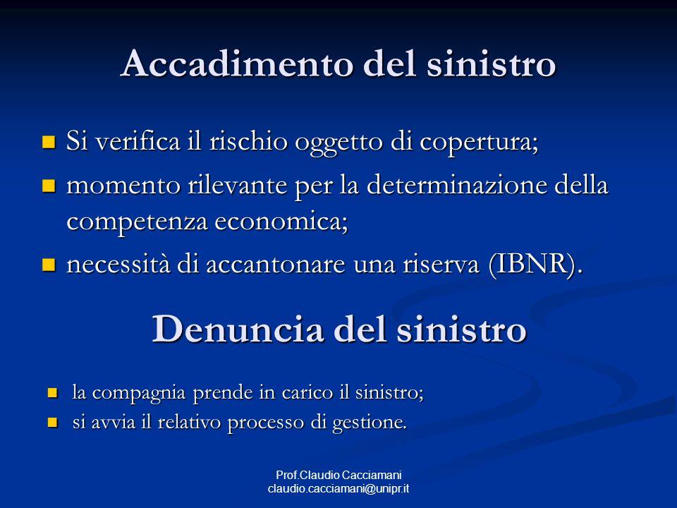 Prof.Claudio Cacciamani claudio.cacciamani@unipr.it Accadimento del sinistro Si verifica il rischio oggetto di copertura; Si verifica il rischio ogget